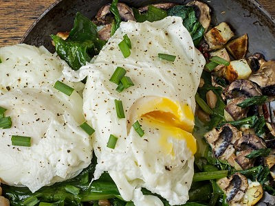Poached Eggs Over Spinach and Mushrooms