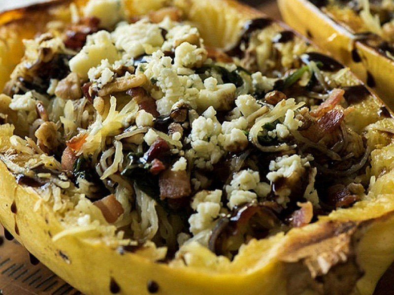 Spaghetti Squash With Bacon, Spinach and Goat Cheese