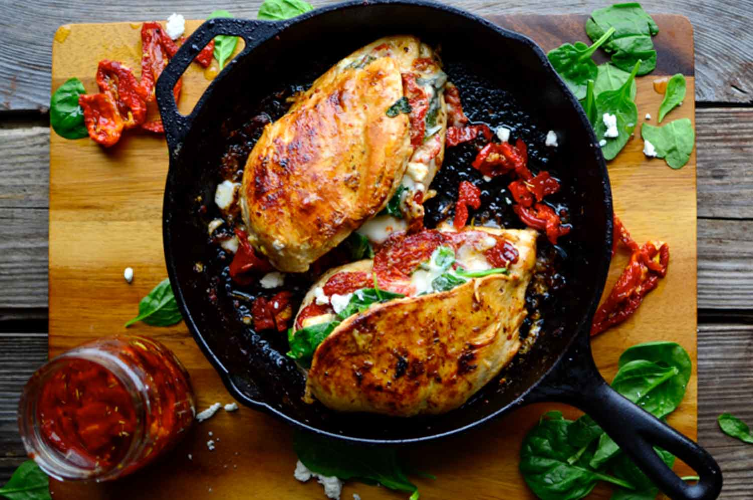 Sundried Tomato, Spinach, and Cheese Stuffed Chicken