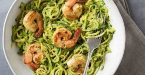 zucchini noodles with avocado pesto shrimp